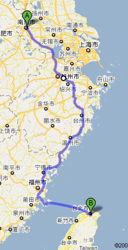 Google Map, From Nanjing to 101, Taipei